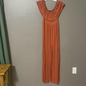 Boohoo off shoulder maxi dress- Burnt Orange- Sz8